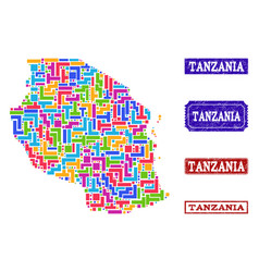 Mosaic map of tanzania and grunge seals vector