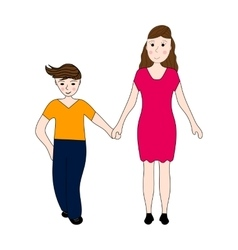 Mother keeps son of the teenager arm vector image