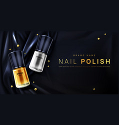Nail polish 3d bottles gold and silver palette vector