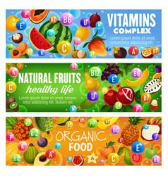 Natural fruit berriy vitamin complex health food vector