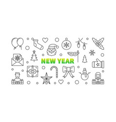 new year line horizontal vector image