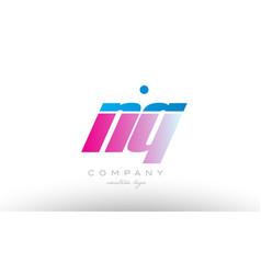 nq n q alphabet letter combination pink blue bold vector image