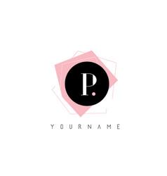 p letter pastel geometric shaped logo design vector image