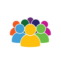 People icon in various color vector