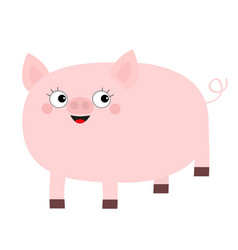 Pink pig animal smiling face cute cartoon funny vector