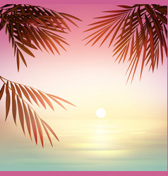Pink tropical sunset vector
