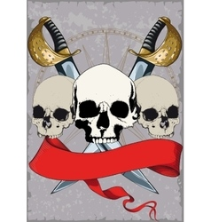 Pirate Poster with skulls vector