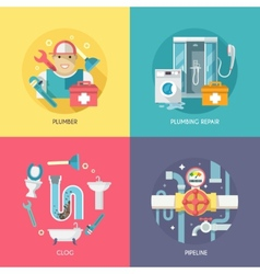 Plumbing icons composition flat vector