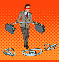 Pop art blindfolded businessman walking with money vector