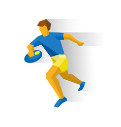 Rugby player running sportsman with ball in hand vector