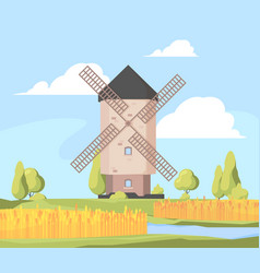 rural landscape windmill farm background with vector image