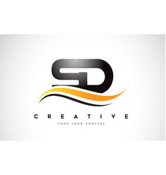 Sd s d swoosh letter logo design with modern vector