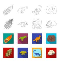 Sea dinosaurtriceratops prehistoric plant human vector
