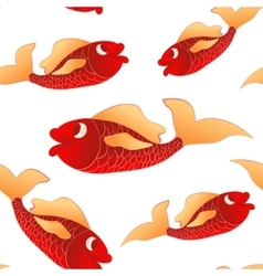 Seamless pattern red little fishes vector