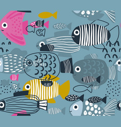seamless pattern with colorful funny fishes vector image