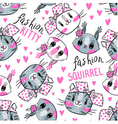 seamless pattern with faces cats and squirrel vector image