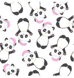 seamless pattern with panda bear in red santas vector image