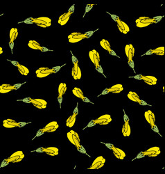 seamless pattern with yellow flowers on black vector image