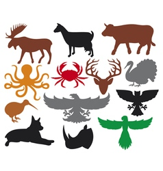 set animals silhouettes vector image