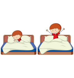 Set boy sleep and wake up vector
