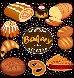 set fresh tasty pastries with roll loaf pie vector image