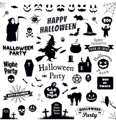 set halloween labels and elements vector image