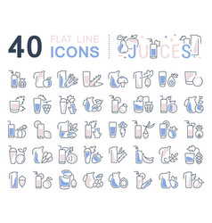 Set line icons juices vector