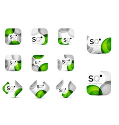 set of abstract square business emblems vector image