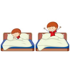 Set of boy sleep and wake up vector
