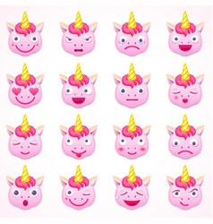 set of emoji unicorn vector image