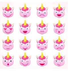 Set of emoji unicorn vector