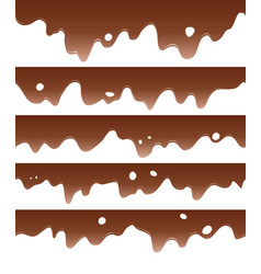 set of seamless chocolate borders vector image