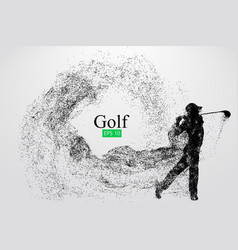 silhouette a golf player vector image