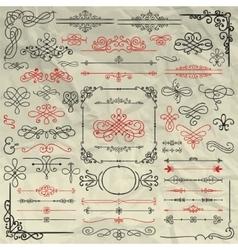 Sketched decorative design elements on crumpled vector
