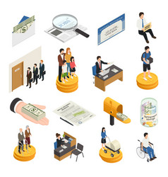 Social security isometric icons vector