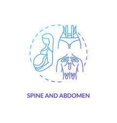 Spine and abdomen blue gradient concept icon vector