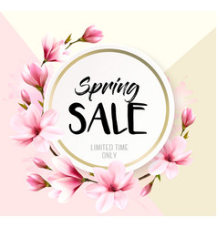 spring sale background with pink blooming magnolia vector image
