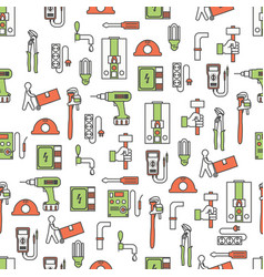 thin line art workers seamless pattern vector image