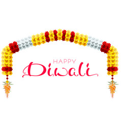 traditional indian mala flower garland festive vector image