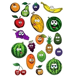 Tropical and garden fruits characters vector image