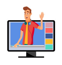 video blogger classic man blogger with vector image