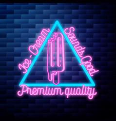 vintage ice cream emblem glowing neon vector image