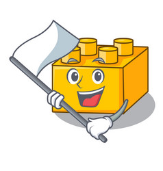 With flag plastic building tyos shaped on mascot vector