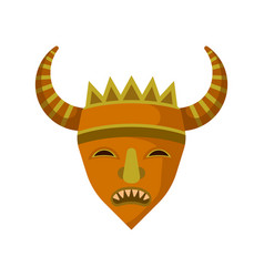 wooden mask with sharp teeth and big horns ethnic vector image