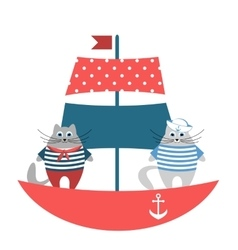 Cats sailors on the boat vector image vector image