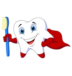 Cute cartoon superhero tooth with toothbrush vector image