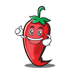 enthusiastic red chili character cartoon vector image