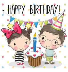 greeting card boy and girl vector image vector image