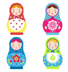 matryoshka set traditional russian nesting dolls vector image