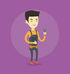 repairman holding spanner vector image